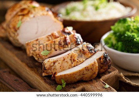 Barbecued turkey breast with honey mustard glaze and broccoli - stock photo