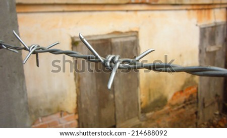 barbed wire. - stock photo