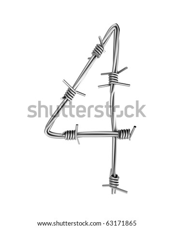 Barbed wire alphabet, 4 - stock photo