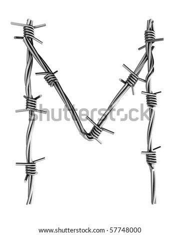 Barbed wire alphabet, M - stock photo