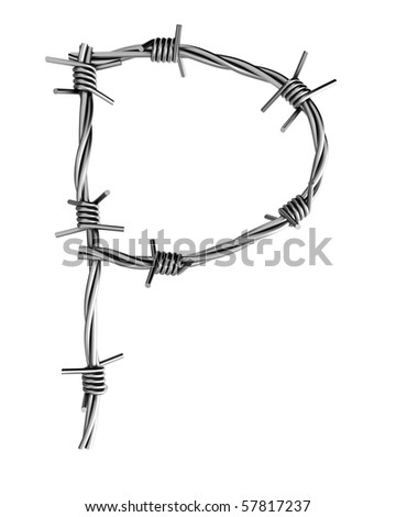 Barbed wire alphabet, P - stock photo