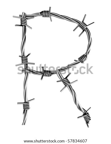 Barbed wire alphabet, R - stock photo
