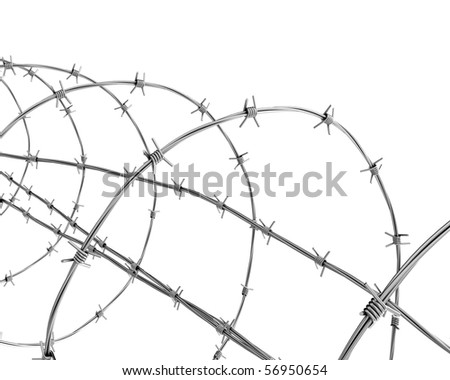 Barbed wire closeup - stock photo