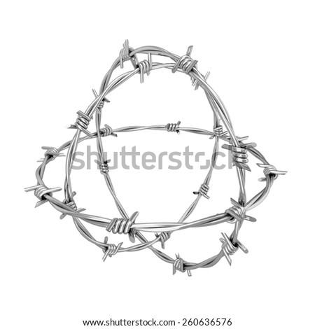 Barbed wire. 3d illustration isolated on white background  - stock photo