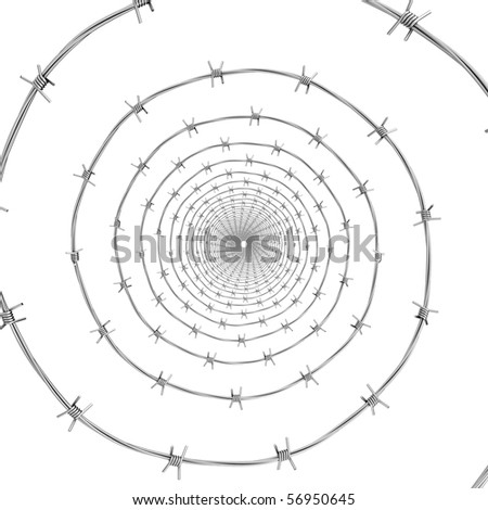 Barbed wire frontal view - stock photo