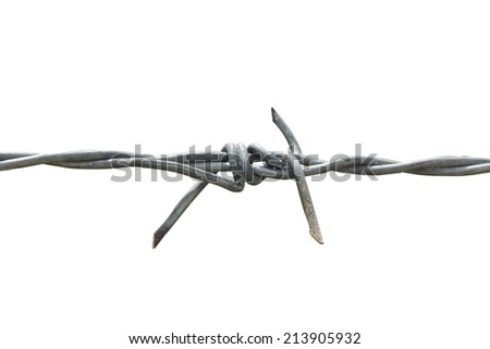 Barbed wire isolated on the white background