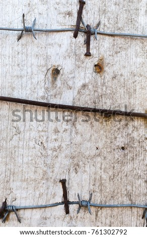 Barbed Wire Nailed Old Board Rusty Stock Photo (100% Legal ...