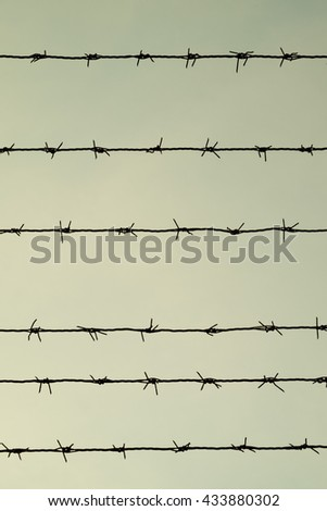 Barbed wire on dull sky grey background