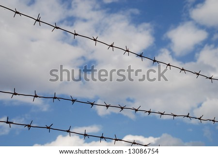 barbed wire on sky