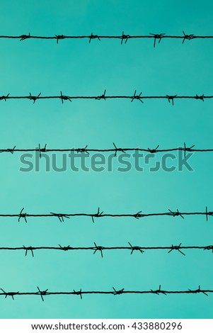Barbed wire on turquoise background