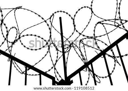 Barbed wire with fence on white background - stock photo