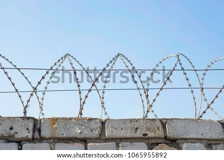 Barbed Wire Wound Top Brick Fence Stock Photo (Royalty Free ...