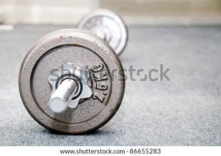 barbell infitness room - stock photo