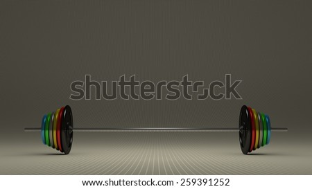 Barbell with multicolor disks on gray checkered background, front view