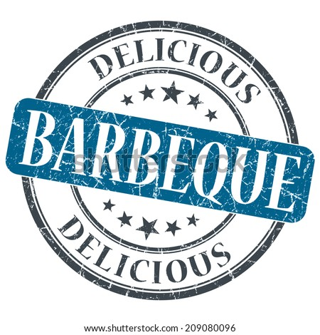 Barbeque blue grunge textured vintage isolated stamp - stock photo