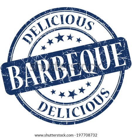 Barbeque blue round grungy vintage rubber stamp - stock photo
