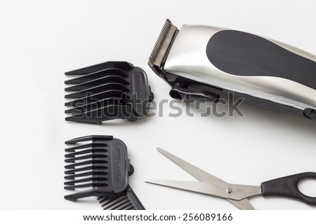 Barber accessories on white table, close up - stock photo