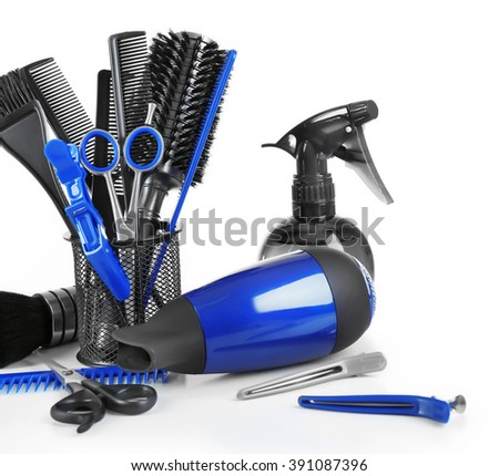 Barber set with tools and equipment, isolated on white