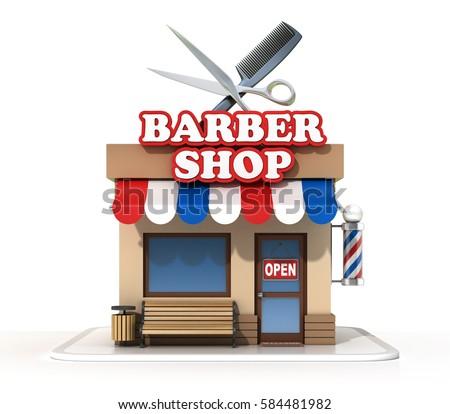 barber shop 3 d rendering stock illustration 584481982 shutterstock rh shutterstock com barber shop pole clipart barber shop clipart