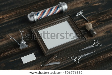 Barber shop identity mockup with tools and Barber's pole on wood desk. 3d rendering