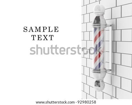 Barber shop pole. Hairdresser symbol. 3D icon on white background - stock photo
