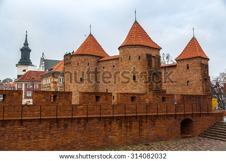 Barbican fortress in Warsaw in a summer day, Poland - stock photo