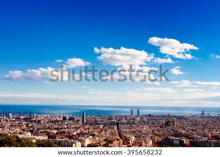 Barcelona, a bird view over city. Catalonia, Spain. - stock photo