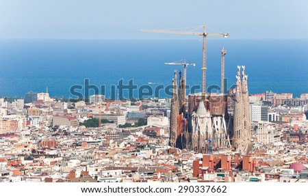 Barcelona aerial view - stock photo