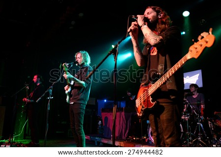 BARCELONA - APR 25: Dry the River (indie rock band) performs at Music Hall stage on April 25, 2015 in Barcelona, Spain. - stock photo