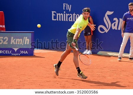 BARCELONA - APR 20: Marinko Matosevic (tennis player from Australia) plays at the ATP Barcelona Open Banc Sabadell Conde de Godo tournament on April 20, 2015 in Barcelona, Spain. - stock photo