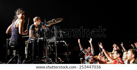 BARCELONA - APR 2: Matt and Kim (band) performs at Apolo on April 2, 2011 in Barcelona, Spain. - stock photo