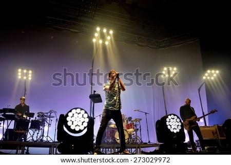 BARCELONA - APR 24: Vetusta Morla (music band) performs at Sant Jordi Club stage on April 24, 2015 in Barcelona, Spain. - stock photo