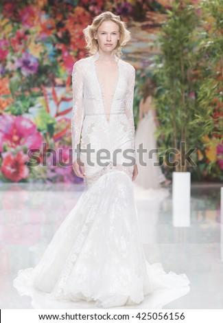 BARCELONA - APRIL 28: a model walks on the Galia Lahav bridal collection 2017 catwalk during the Barcelona Bridal Fashion Week runway on April 28, 2016 in Barcelona, Spain.  - stock photo