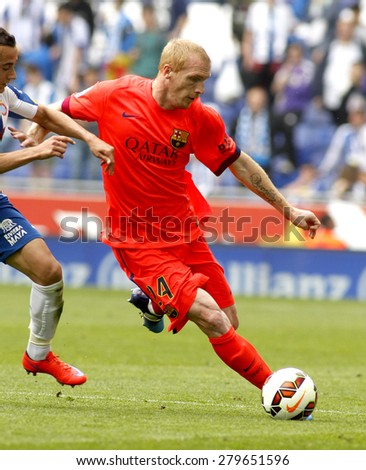 BARCELONA - APRIL, 25: Jeremy Mathieu of FC Barcelona during a Spanish League match against RCD Espanyol at the Power8 stadium on April 25, 2015 in Barcelona, Spain - stock photo