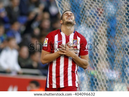BARCELONA - APRIL, 9: Koke Resurreccion of Atletico Madrid during a Spanish League match against RCD Espanyol at the Power8 stadium on April 9, 2016 in Barcelona, Spain  - stock photo