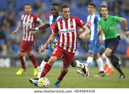 BARCELONA - APRIL, 9: Koke Resurreccion of Atletico Madrid during a Spanish League match against RCD Espanyol at the Power8 stadium on April 9, 2016 in Barcelona, Spain