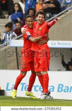 BARCELONA - APRIL, 25: Leo Messi and Neymar of FC Barcelona celebrating goal during a Spanish League match against RCD Espanyol at the Power8 stadium on April 25, 2015 in Barcelona, Spain - stock photo