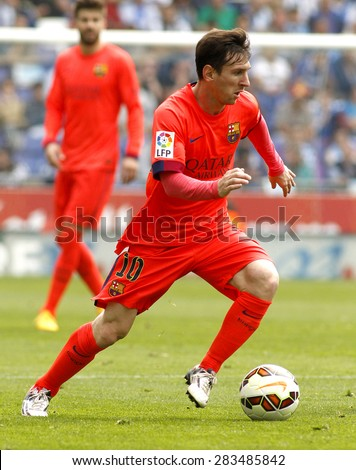 BARCELONA - APRIL, 25: Leo Messi of FC Barcelona during a Spanish League match against RCD Espanyol at the Power8 stadium on April 25, 2015 in Barcelona, Spain - stock photo