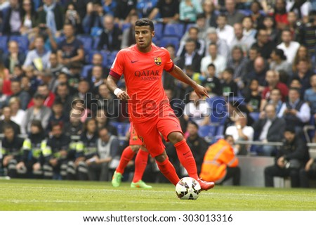 BARCELONA - APRIL, 25: Rafinha Alcantara of FC Barcelona during a Spanish League match against RCD Espanyol at the Power8 stadium on April 25 2015 in Barcelona Spain - stock photo