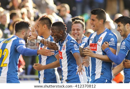 BARCELONA - APRIL, 9: RCD Espanyol de Barcelona players celebrating goal during a Spanish League match against Atletico de Madrid at the Power8 stadium on April 9, 2016 in Barcelona, Spain - stock photo