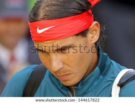 BARCELONA - APRIL, 24: Spanish tennis player Rafa Nadal before a match of Barcelona tennis tournament Conde de Godo on April 24, 2013 in Barcelona - stock photo