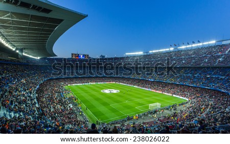 BARCELONA - April 10 2013 : View of Camp Nou stadium before the Spanish Cup match between FC Barcelona and PSG, final score 1-1 , 2013, in Barcelona, Spain.  - stock photo
