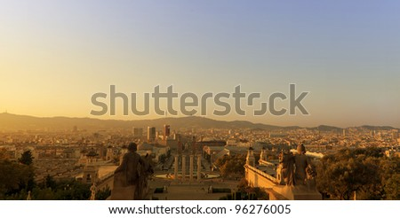 Barcelona at sunset - stock photo