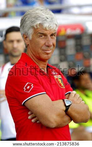 BARCELONA - AUG, 17: Genoa CFC manager Gian Piero Gasperini during a friendly match against RCD Espanyol at the Estadi Cornella on August 17, 2014 in Barcelona, Spain - stock photo