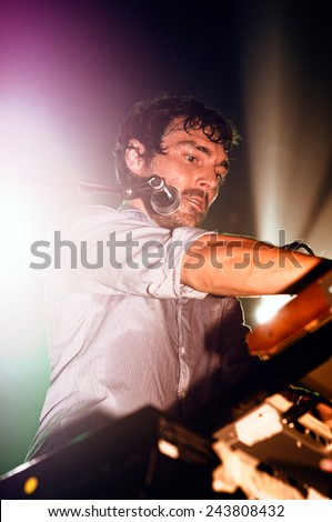 BARCELONA - AUG 20: Mendetz performs at Discotheque Razzmatazz on August 20, 2010 in Barcelona, Spain. - stock photo