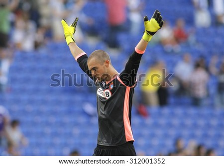 BARCELONA - AUG, 22: Pau Lopez of RCD Espanyol during a Spanish League match against Getafe CF at the Power8 stadium on August 22 2015 in Barcelona Spain - stock photo