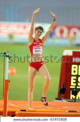BARCELONA - AUG 1: Ruth Beitia of Spain during High Jump Final of the 20th European Athletics Championships at the Olympic Stadium on August 1, 2010 in Barcelona, Spain