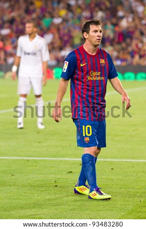 BARCELONA - AUGUST 17: Leo Messi during the Spanish Super Cup final match between FC Barcelona and Real Madrid, final score 3 - 2, on August 17, 2011 in Camp Nou stadium, Barcelona, Spain. - stock photo