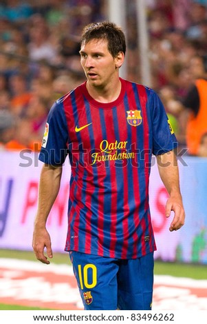 BARCELONA - AUGUST 17: Leo Messi during the Spanish Supercup final match between FC Barcelona and Real Madrid, final score 3 - 2, on August 17, 2011 in Camp Nou stadium, Barcelona, Spain. - stock photo