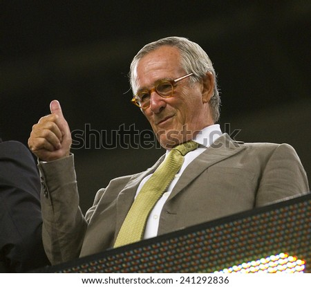 BARCELONA - AUGUST 17: Xavier Trias, mayor of Barcelona city, during the Spanish Super Cup final match between FC Barcelona and Real Madrid, 3 - 2, on August 17, 2011 in Camp Nou, Barcelona, Spain. - stock photo
